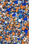 Blue & Orange Sprinkles Mix   Dart Foam Pit Sprinkle Medley, Edible Blend