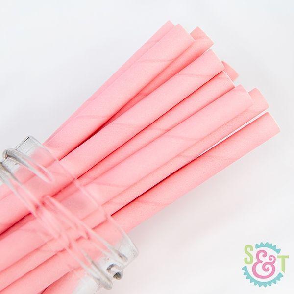 Solid Paper Straws: Light Pink