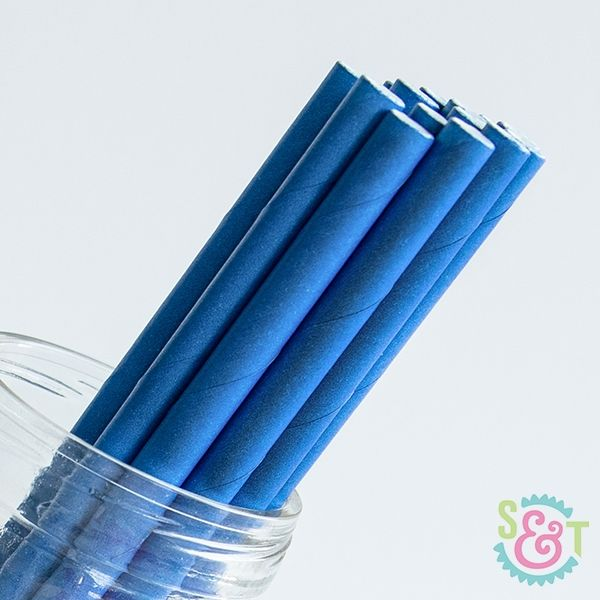 Solid Paper Straws: Royal Blue